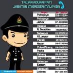 马来西亚各州移民局电话大家可以存一下以备不时之需
